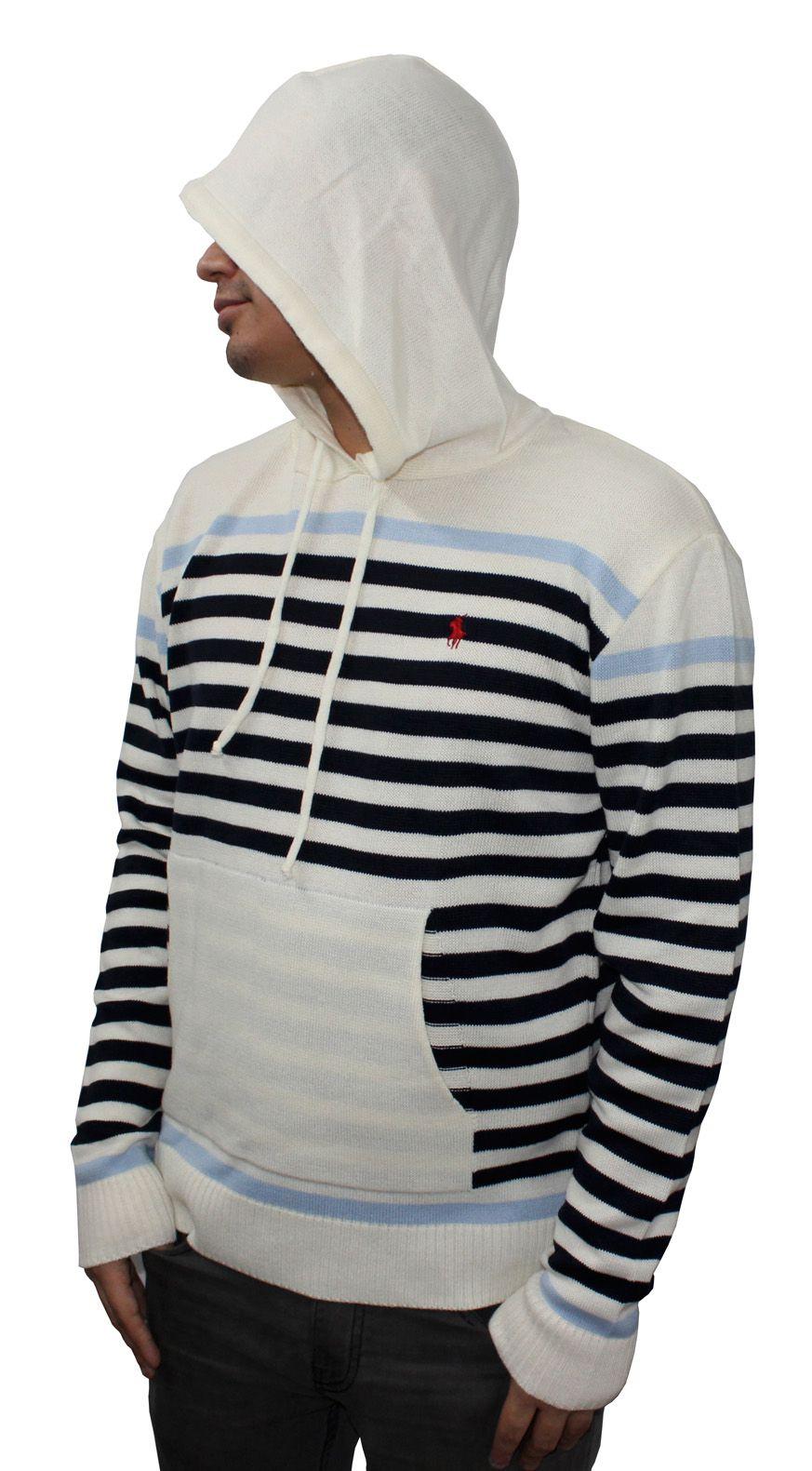 Suéter Lã RL Listrado Capuz