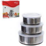 Conjunto de Potes em Inox - 3 Peças