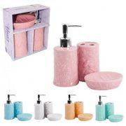Kit para banheiro de porcelana relevo flores e abelha colors com 3 pecas na caixa - Wellmix