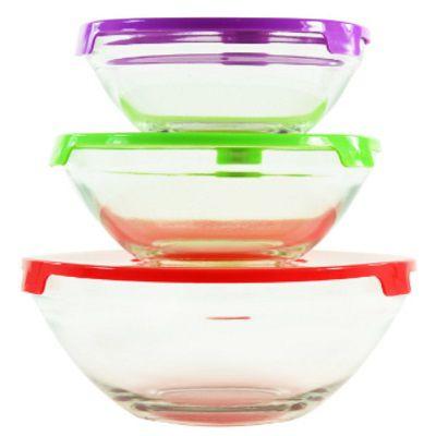 Conjunto de Potes de Vidro com Tampa 3 Peças - Kook  - Eu Organizo