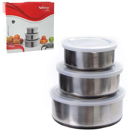 Conjunto de Potes em Inox - 3 Peças  - Eu Organizo