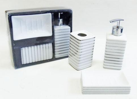 Jogo de Porcelana para Banheiro - Listrado  - Eu Organizo