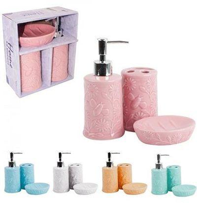Kit para banheiro de porcelana relevo flores e abelha - Wellmix  - Eu Organizo