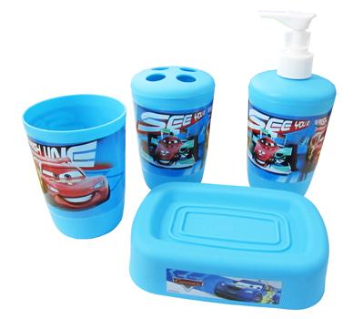 Kit para Banheiro - Disney Carros - 4 Itens  - Eu Organizo