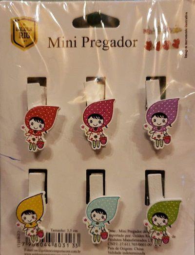 Mini Prendedor De Madeira Sortidos Com 6 Unidades 3,5Cm  - Eu Organizo