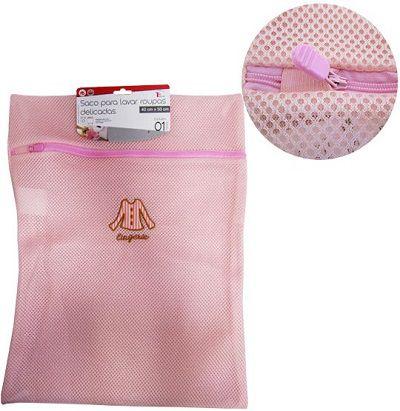 Saco p/ Lavar Roupa Intima c/ Ziper Rosa E Bordado 40x30cm  - Eu Organizo
