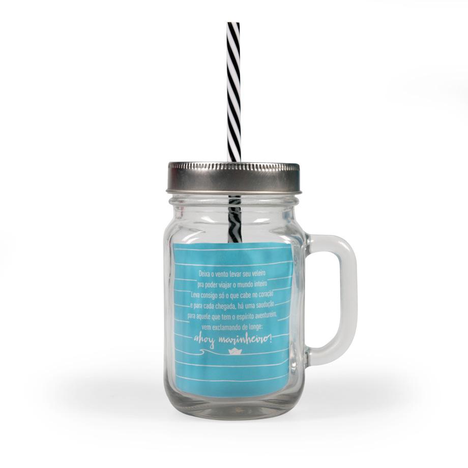 Caneca de Vidro com Canudo Mason jar Caneconserva Ancora