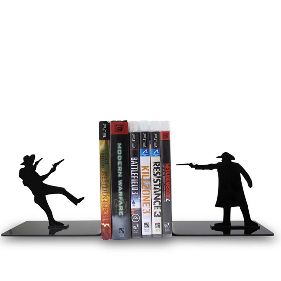 Suporte Aparador De Livros Dvd Cd Faroeste Cowboy Pistoleiro