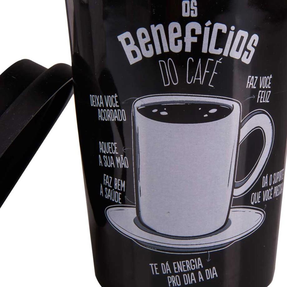 Copo Cerâmico Top Benefícios do Café com Tampa de Silicone