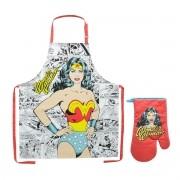 Avental e Luva de Cozinha Mulher Maravilha Dc Comics