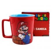 Caneca Alça Quadrada 400 ml Super Mario