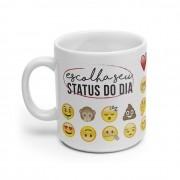 Caneca Branca Emoji - Escolha Seu Status do Dia