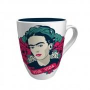 Caneca Frida Kahlo Elegant Face Viva La Vida