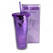 Copo Canudo Diamond Roxo 650 ml