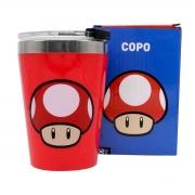 Copo Viagem Cogumelo Vermelho Super Mario Bros Nintendo