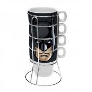 Jogo de 4 Xícaras com Suporte Batman Face DC Comics