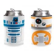 Kit 2 Porta Lata Droide Bb8 e R2D2 Star Wars