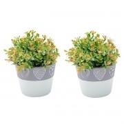 Kit 2 Vasos Concreto Decorativo Coração Verde e Cinza Médio