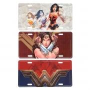 Kit 3 Placas Decorativa de Alumínio Mulher Maravilha DC Comics