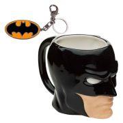 Kit Caneca Porcelana 3D  e Chaveiro Batman Dc Comics