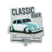 Placa Decorativa de Alumínio Recorte Fusca Clássico Prata Volkswagen