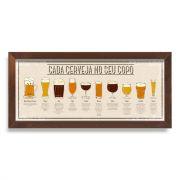 Quadro Copos de Cerveja - Cada Cerveja no Seu Copo - Vintage