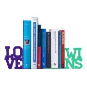 Suporte Aparador De Livro Dvd Cds - Love Wins Lilás e Verde