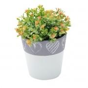 Vaso Concreto Decorativo Coração Verde e Cinza Grande