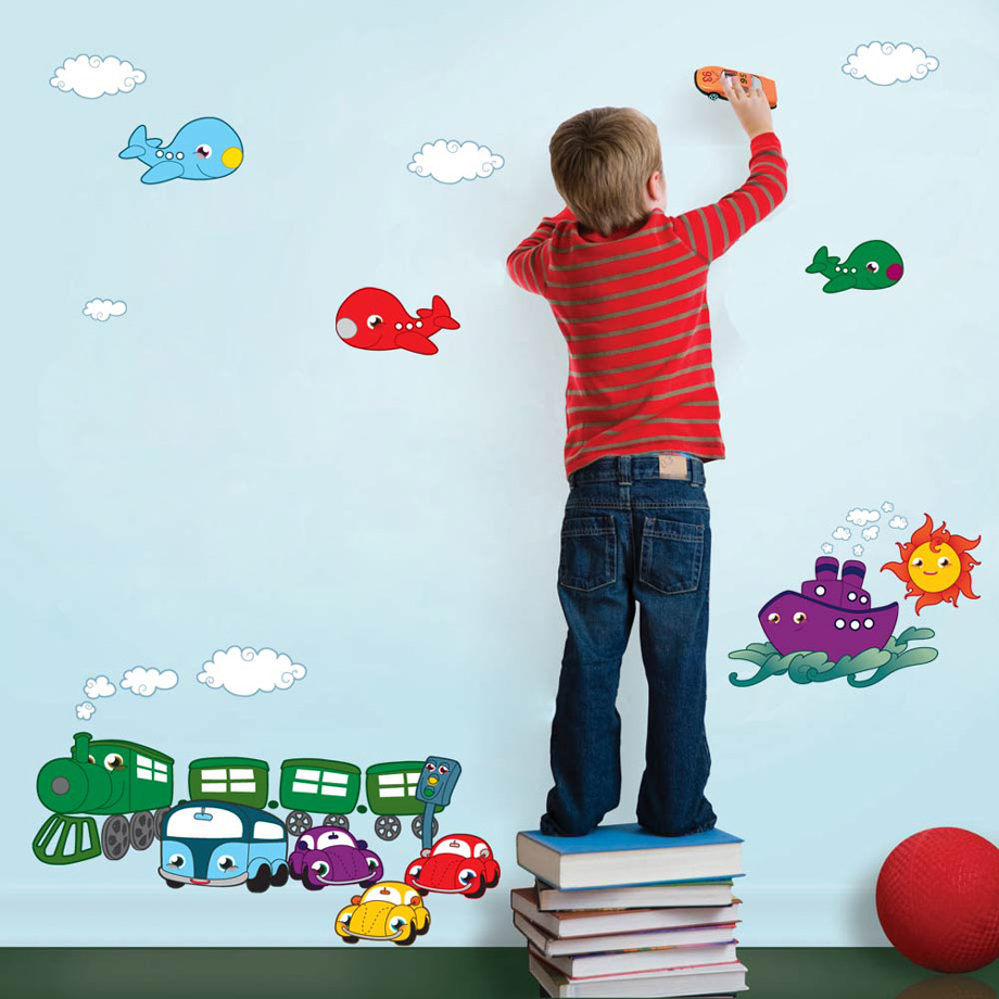 Adesivo de Parede  Infantil - Meios de Transporte