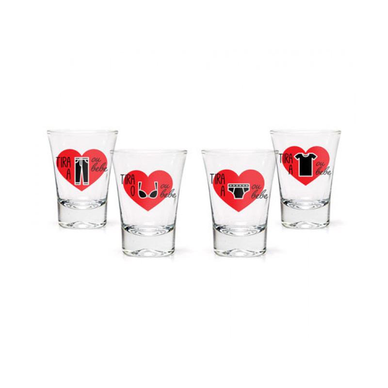 Conjunto 4 Copos Shot Tequila - Jogo Strip Shot