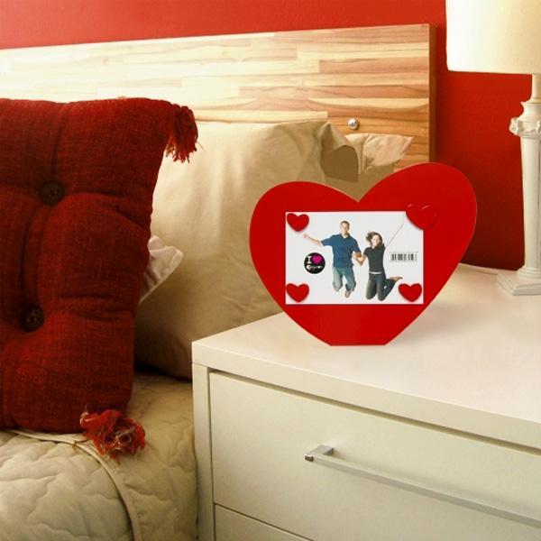 Porta Retrato Coração Love Com Imãs Corações