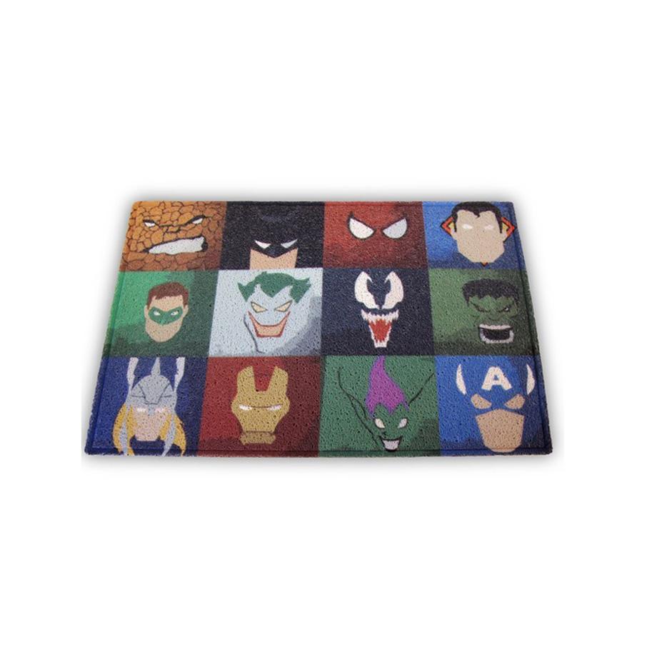 Capacho Comis para decoração Geek - Personagens Marvel DC
