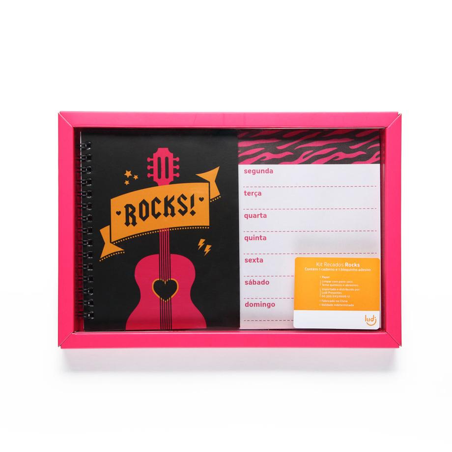 Kit Caderno e Agenda Recados Rocks
