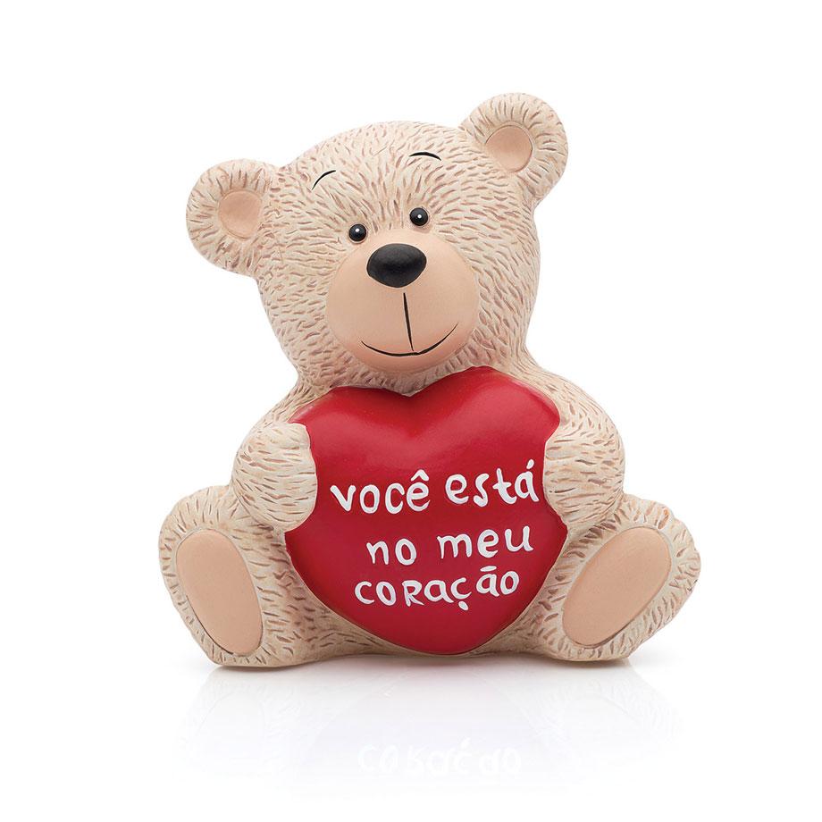 Cofre Cerâmica Urso Apaixonado Bege Você está no Meu Coração