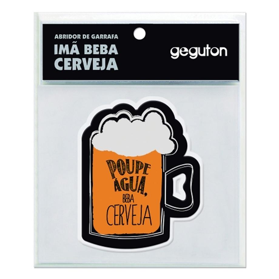 Abridor de Garrafa de Metal Imã Beba Cerveja