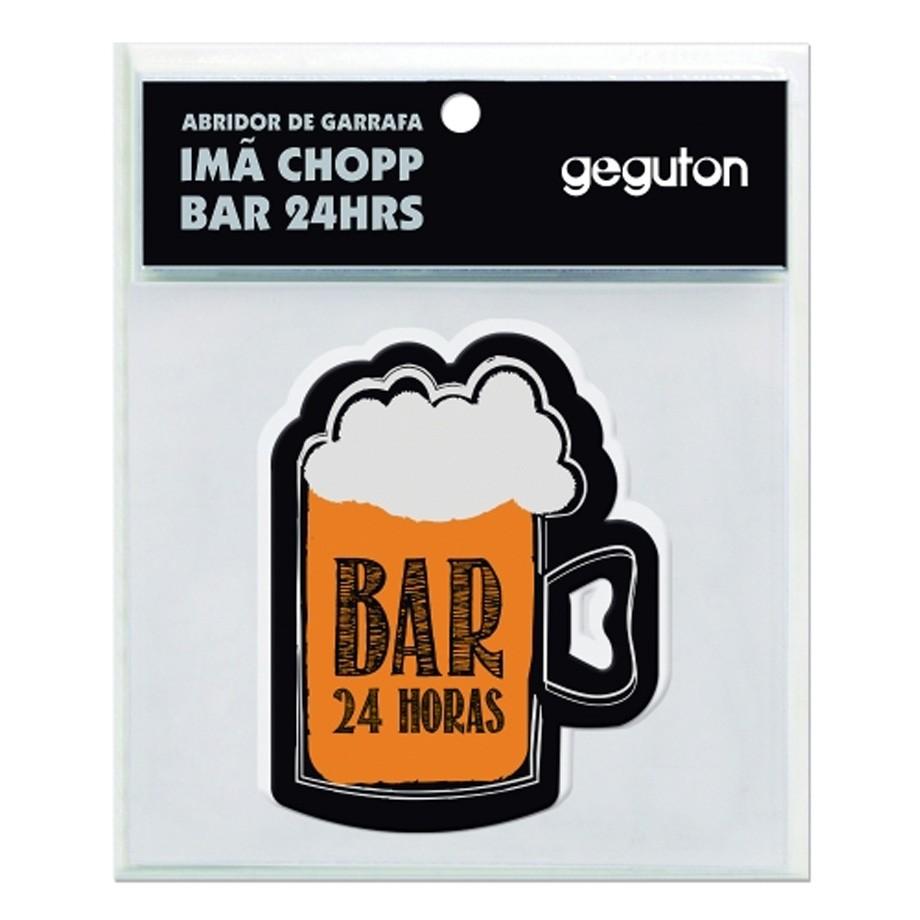 Abridor de Garrafa de Metal Imã Chopp Bar 24hrs