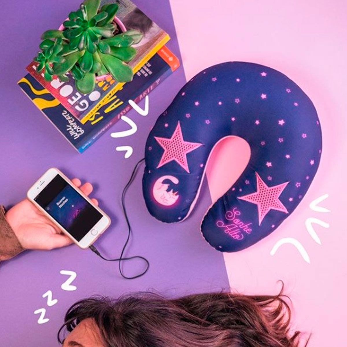 Almofada de Pescoço com Speaker Saída de Som Gato Unicórnio
