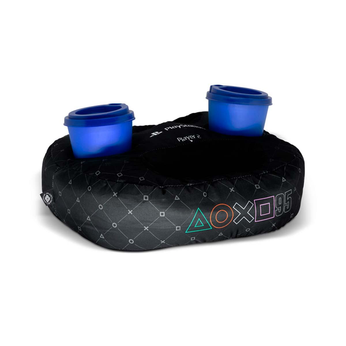 Almofada Porta Controle e Copo Playstation PS4 Preta