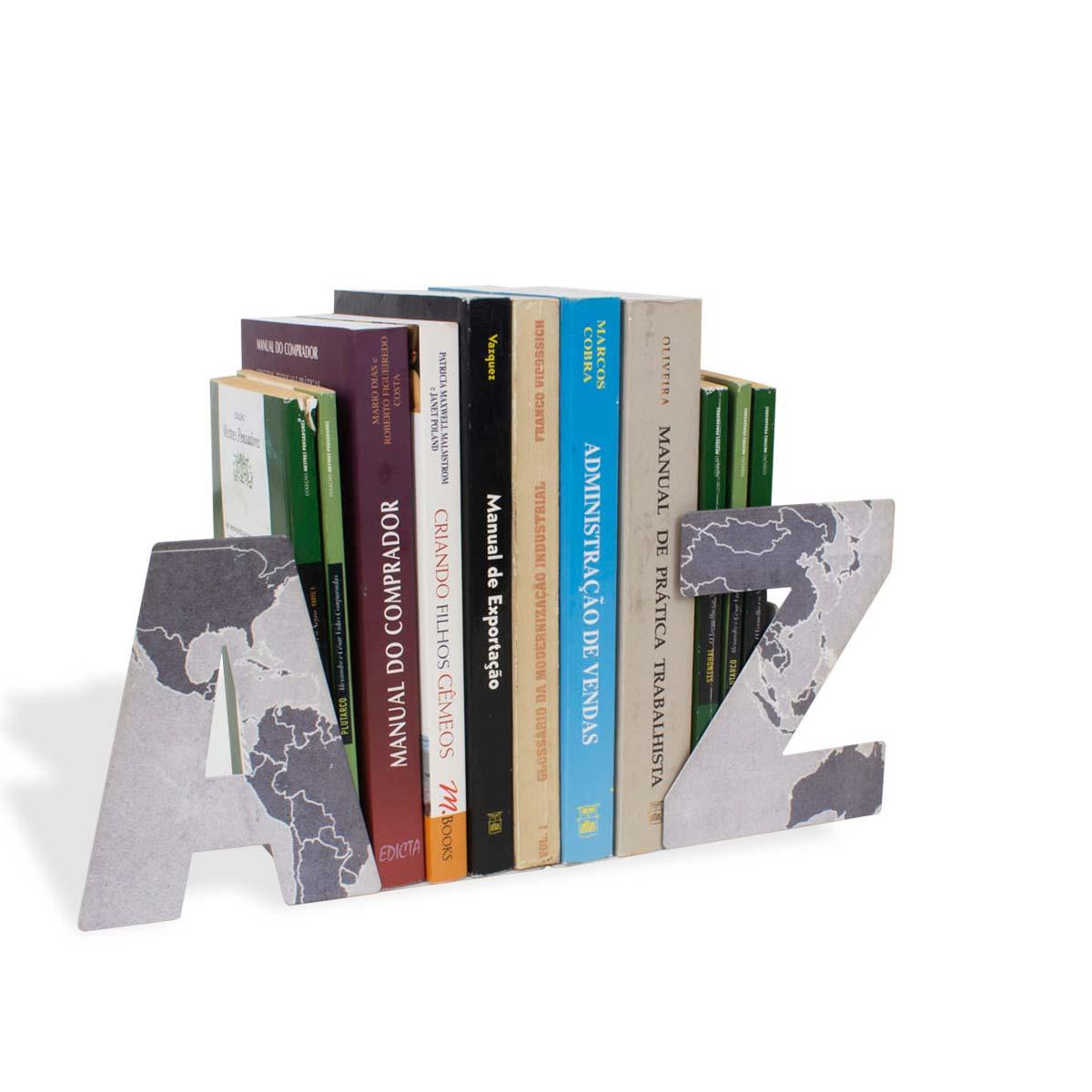 Aparador de Livros AZ Mapa Mundi Concreto