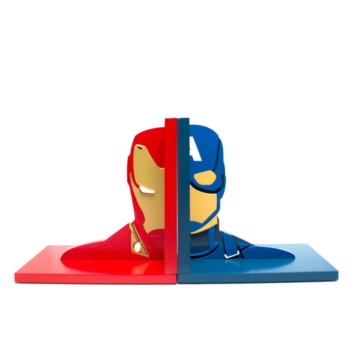 Aparador de Livros Guerra Civil Homem De Ferro e Capitão América Vingadores Marvel