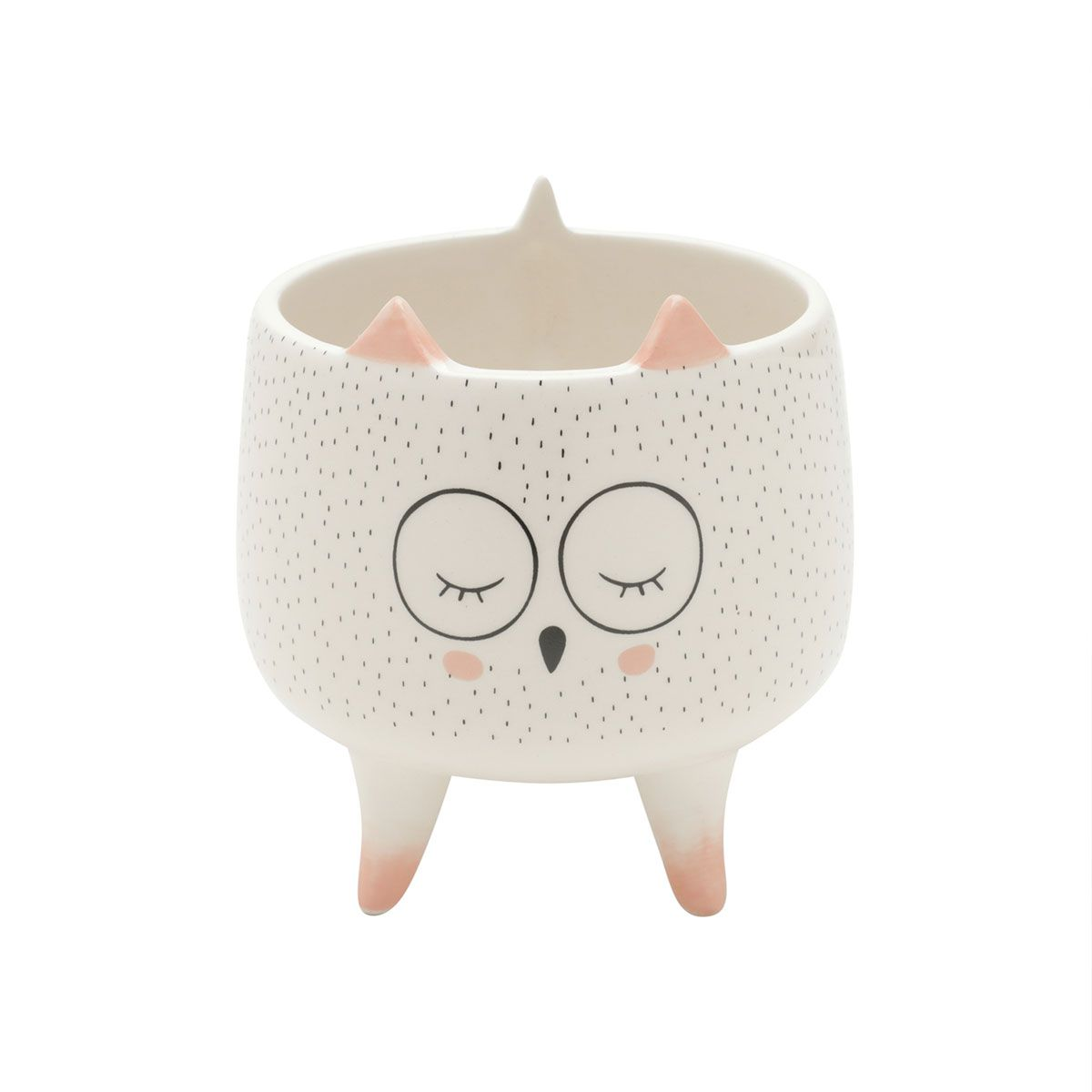 Cachepot Vaso Decorativo Cerâmica Coruja Sleeping Owl Grande