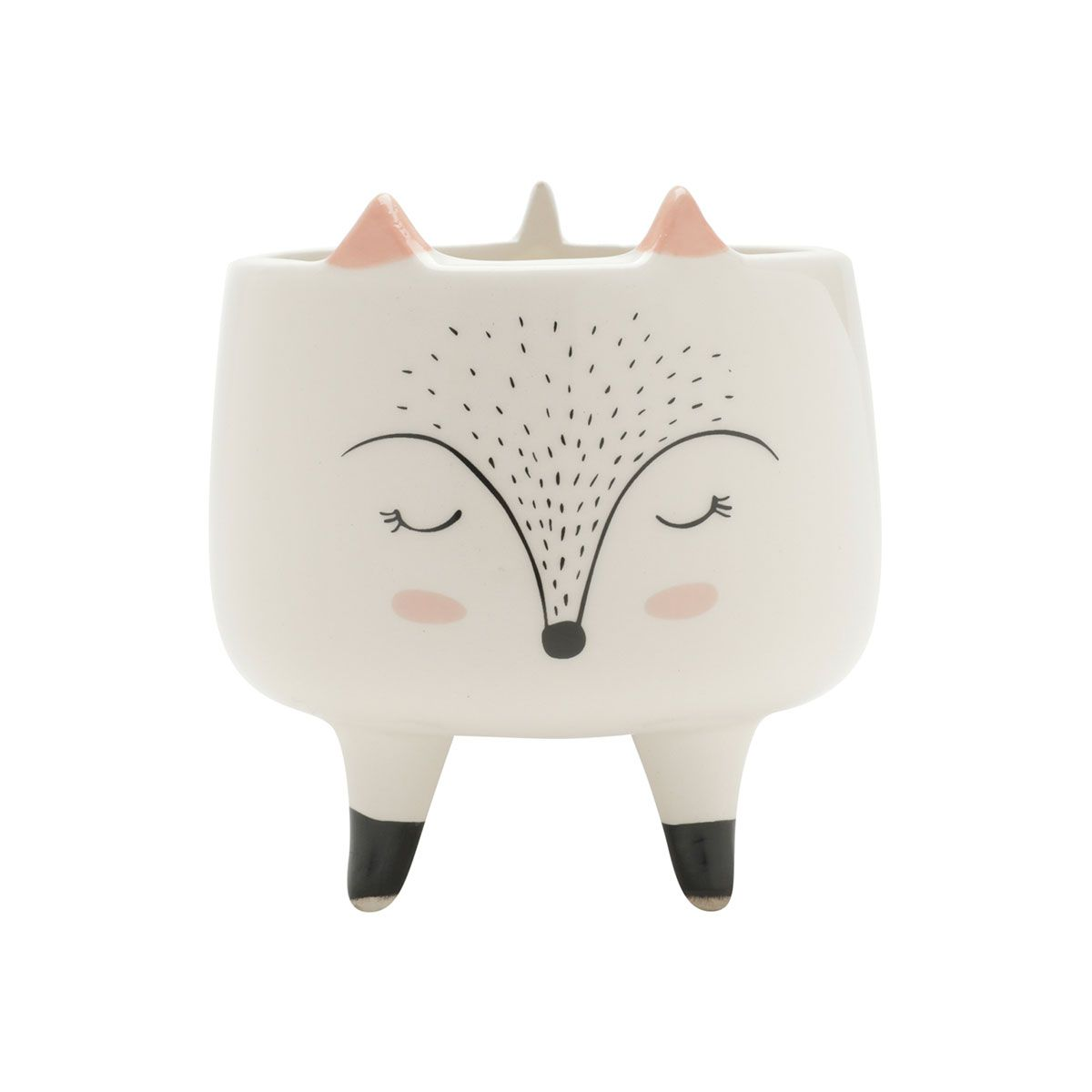 Cachepot Vaso Decorativo Cerâmica Raposa Sleeping Fox Grande
