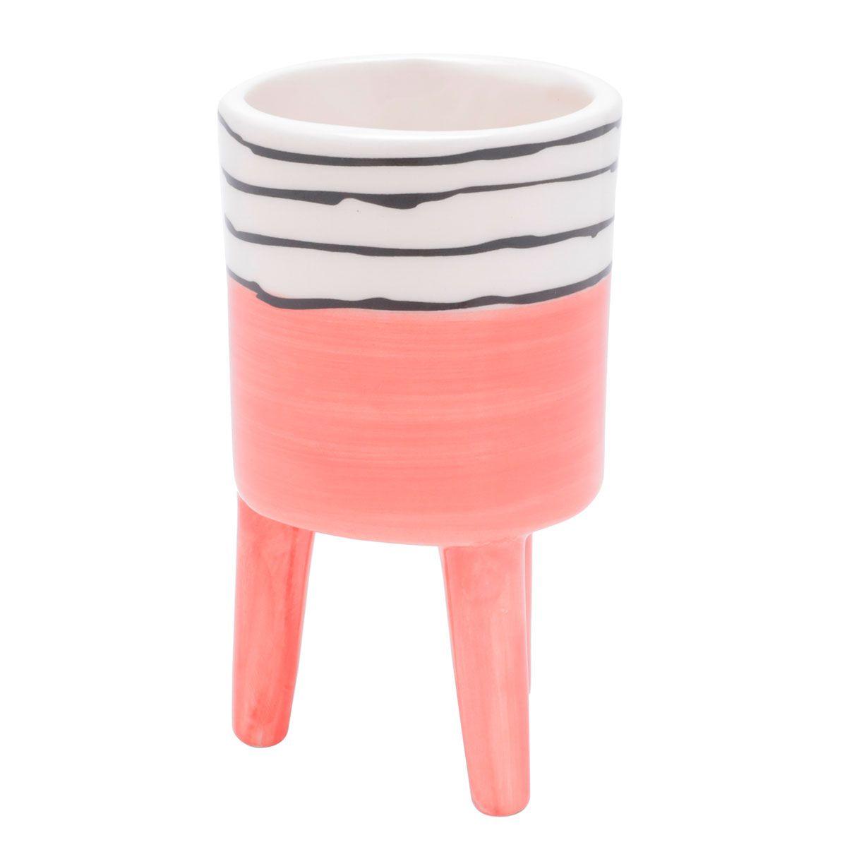 Cachepot Vaso Decorativo de Cerâmica Bright Colors Salmão Pequeno