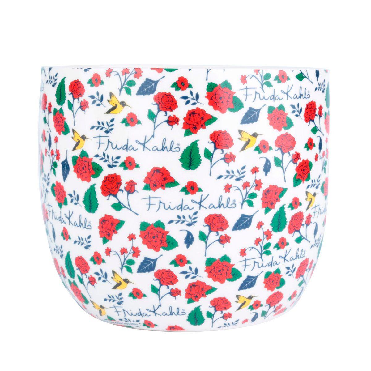 Cachepot Vaso Decorativo de Cerâmica Frida Kahlo Flores
