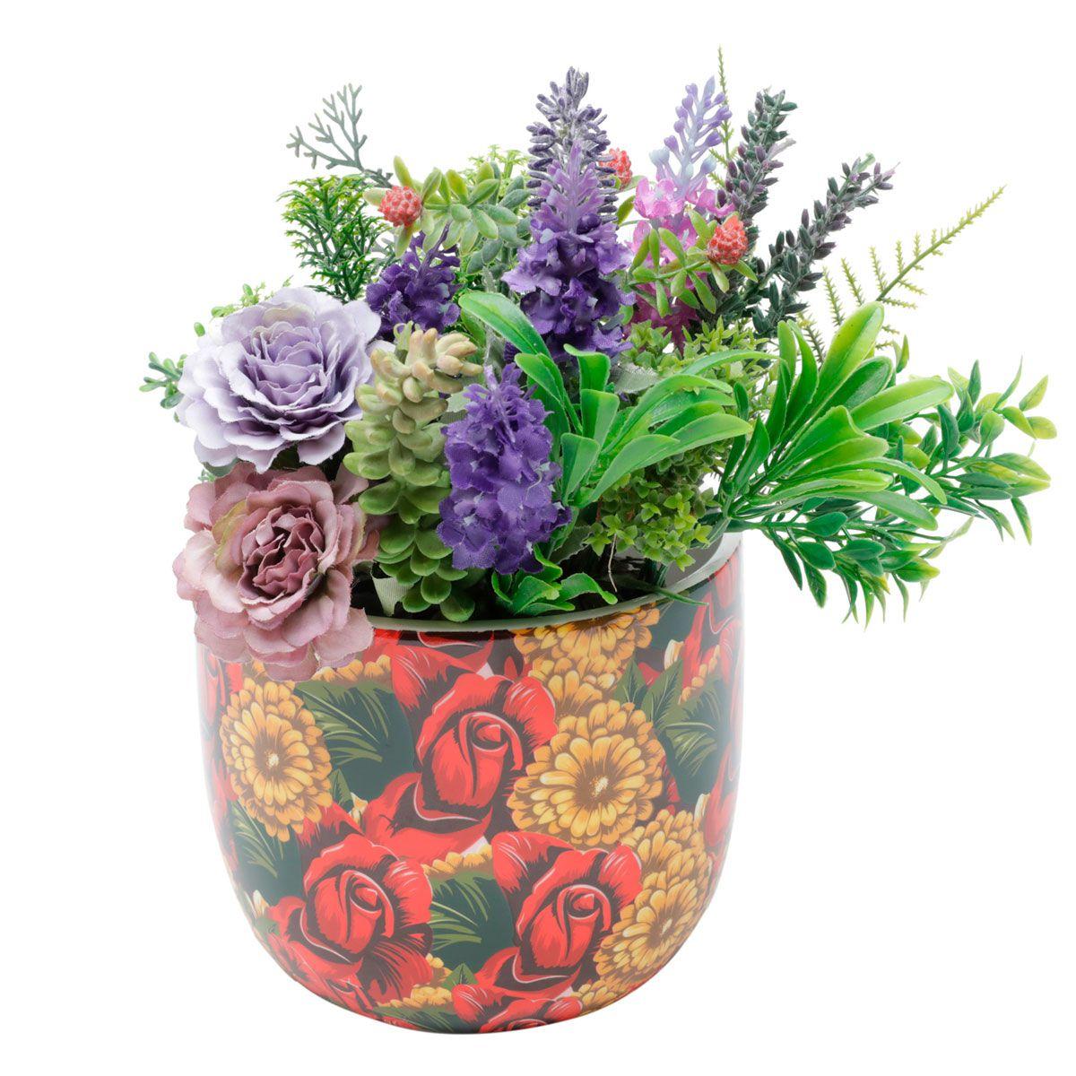 Cachepot Vaso Decorativo de Cerâmica Frida Kahlo Yellow Flower