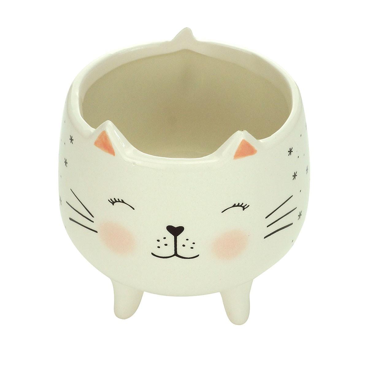 Cachepot Vaso Decorativo de Cerâmica Gatinho Charmoso