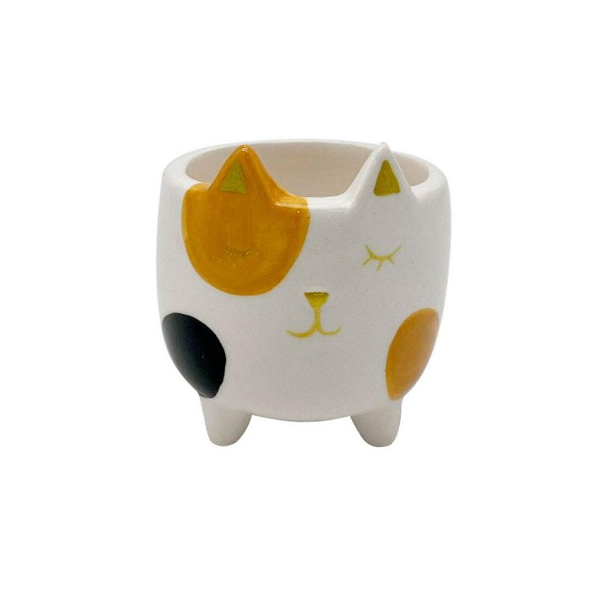 Cachepot Vaso Decorativo de Cerâmica Gato Malhado