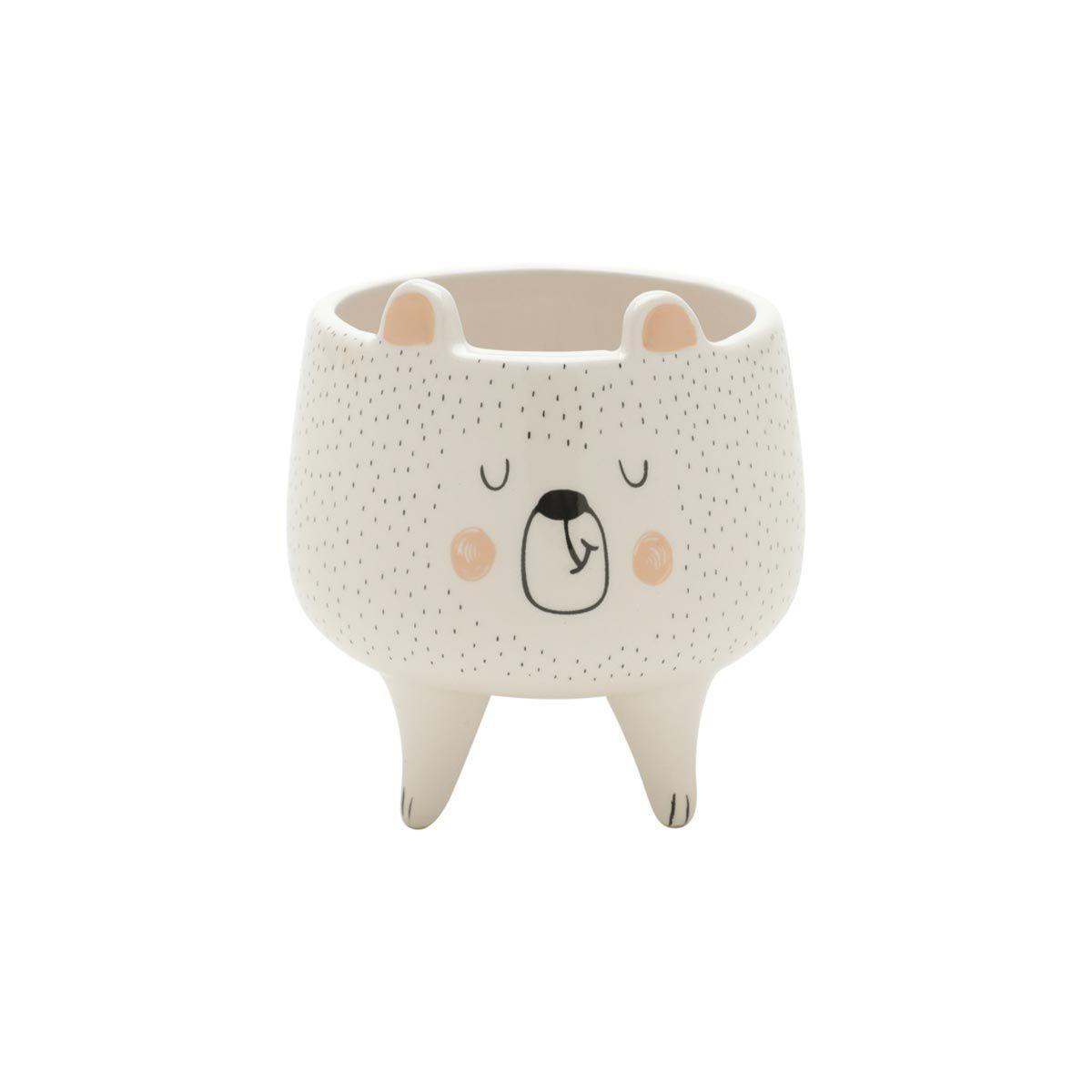 Cachepot Vaso Decorativo de Cerâmica Urso Sleeping Bear