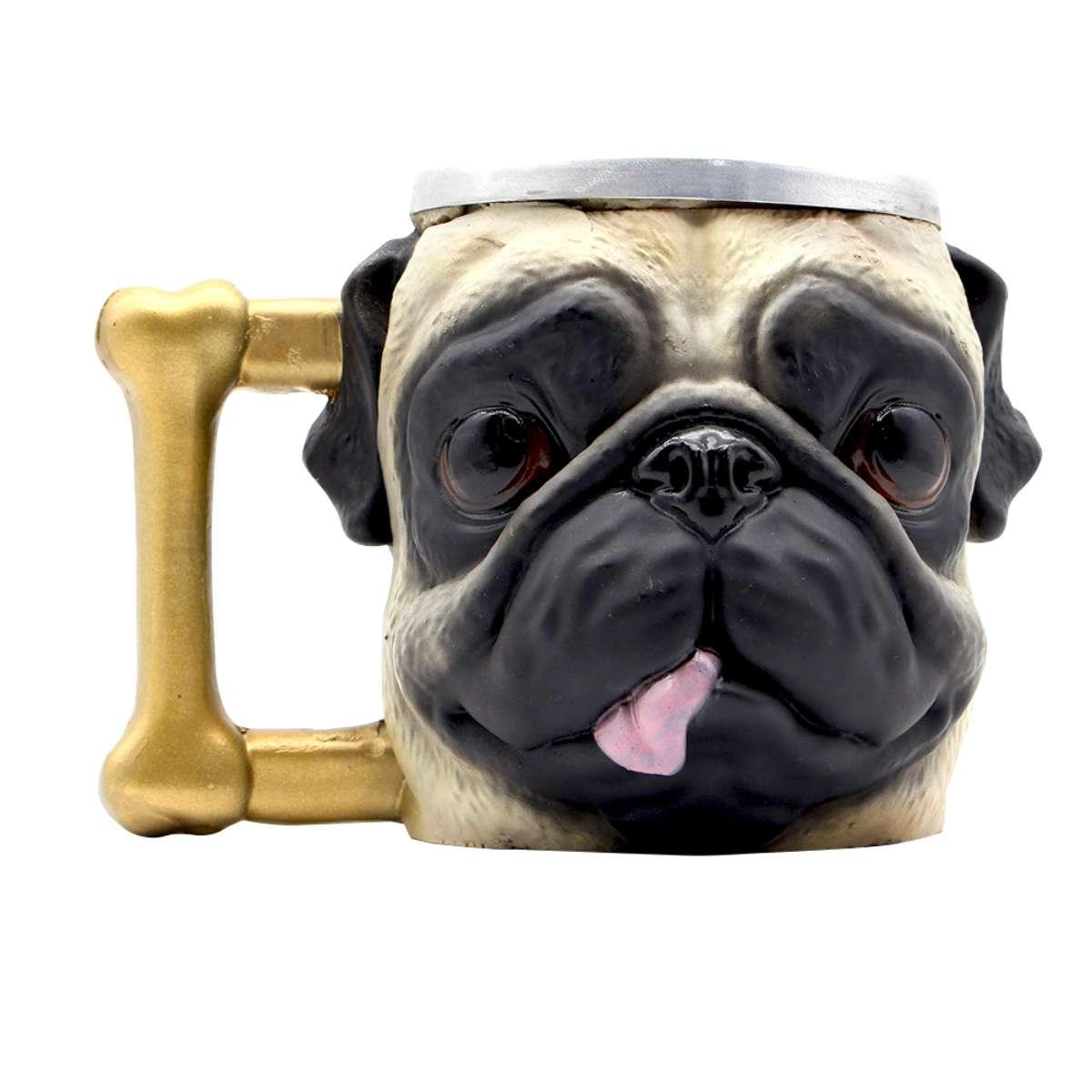 Caneca 3D Cachorro Cão Dog PUG Alça Osso
