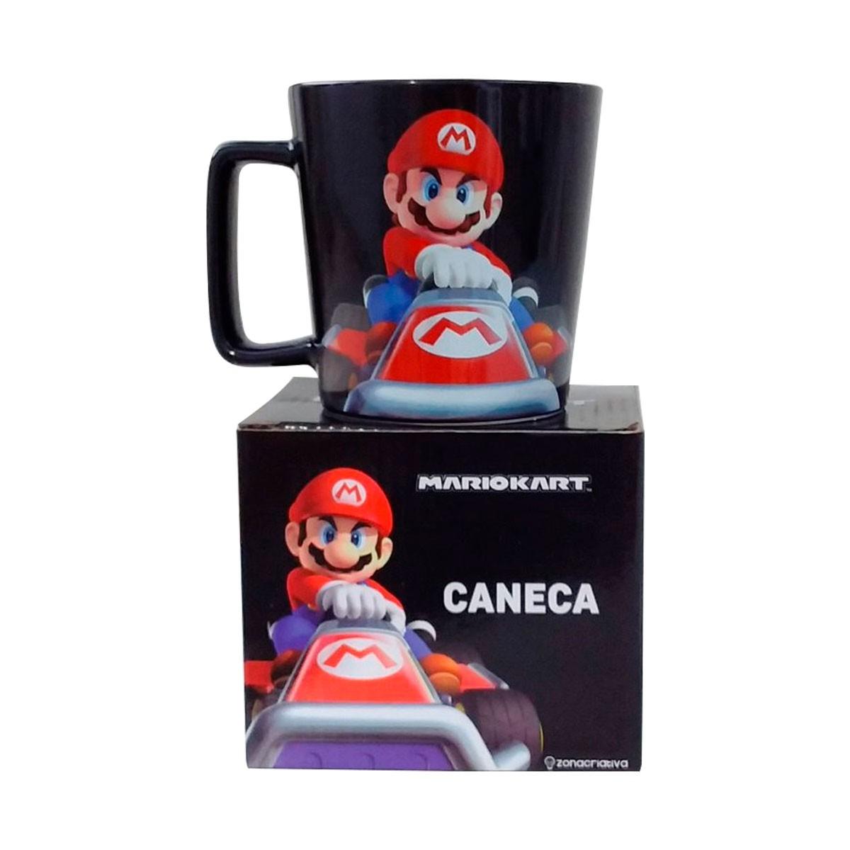 Caneca Alça Quadrada 400 ml Mario Kart
